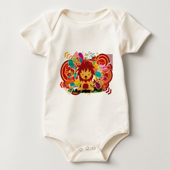 Flor y león body para bebé