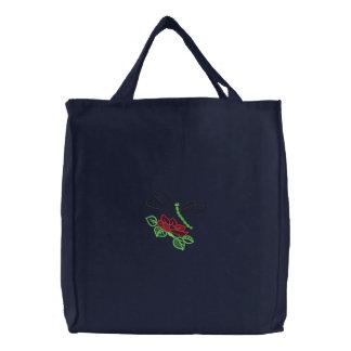 Flor y libélula bolsa de lienzo