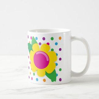 Flor y lunares taza