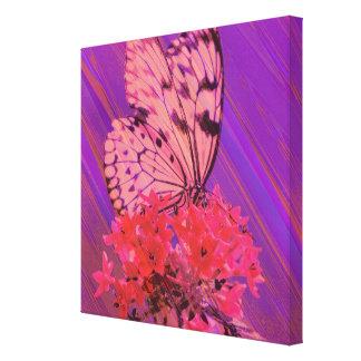 Flor y mariposa en rosa y púrpura impresión en lona