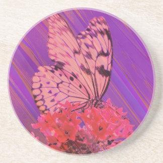 Flor y mariposa en rosa y púrpura posavasos manualidades