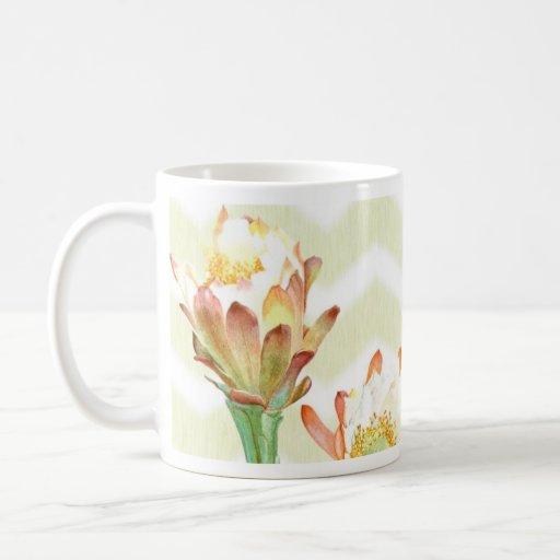 flor y orquídea del cactus tazas
