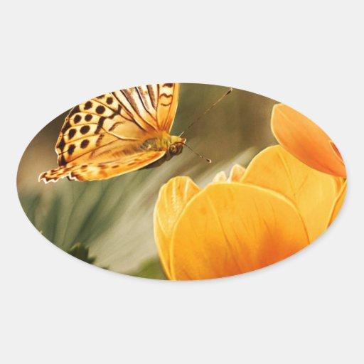 flor y paz y alegría de la mariposa pegatina de oval personalizadas