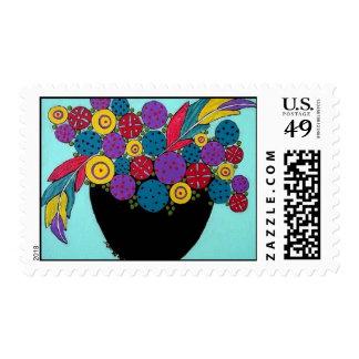 Flor y plumas salvajes sellos