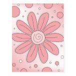 Flor y puntos rosados románticos postal