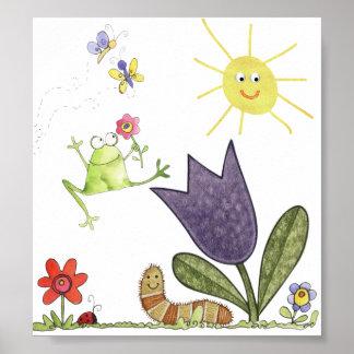 flor y rana póster