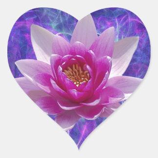 Flor y significado de loto rosada pegatina en forma de corazón