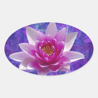 Flor y significado de loto rosada pegatina ovalada