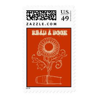 Flor y un libro sello