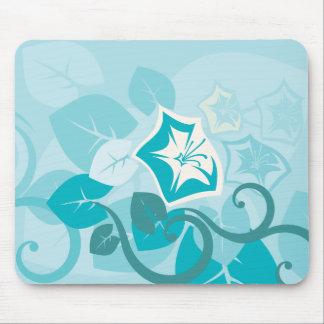 Flor y vid modernas azules de la hoja del trullo alfombrilla de ratones