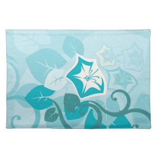 Flor y vid modernas azules de la hoja del trullo mantel individual