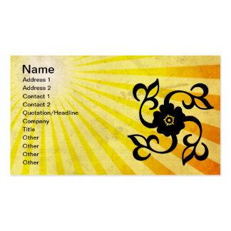 Flor y vides; amarillo tarjetas de visita