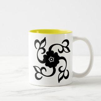 Flor y vides; amarillo taza de dos tonos