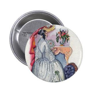 Flora, a Victorian Bride Pinback Button