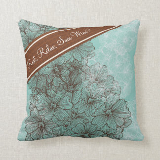 Flora Abstract Ribbon N Wine Throw Pillow
