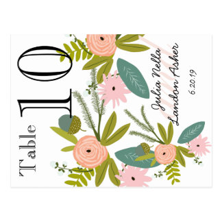Flora and Fauna Peach and Mint Table Number Postcard