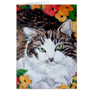 Flora and Feline Greeting Card