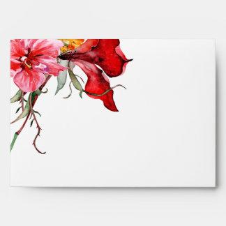Flora Botanica Watercolor Flowers back flap A7 Envelope