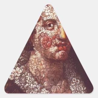 Flora by Giuseppe Arcimboldo Triangle Sticker