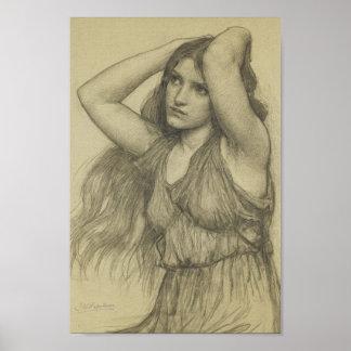 Flora con el pelo largo poster