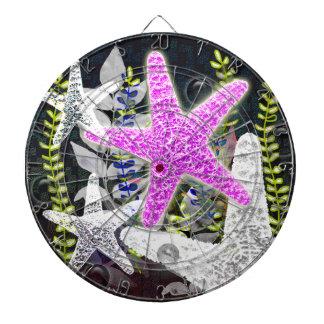 Flora de las estrellas de mar y nautilus púrpuras tablero dardos