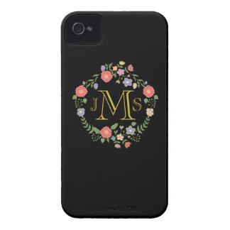 Flora elegante rústica de la inicial del monograma iPhone 4 Case-Mate cobertura