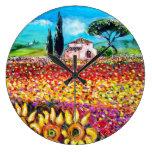 FLORA EN los campos, las amapolas y los girasoles  Relojes De Pared