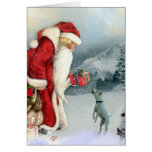 Flora & Father Christmas Greeting Card