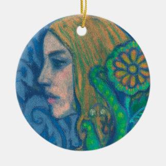 Flora, girl's profile, floral, flowers, blue green ceramic ornament