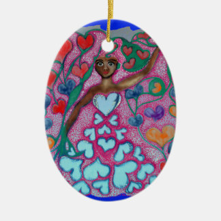 Flora in the Garden with Love Ceramic Ornament