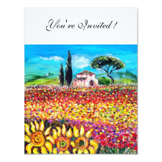 FLORA IN TUSCANY/ Fields ,Poppies and Sunflowers 4.25x5.5 Paper Invitation Card