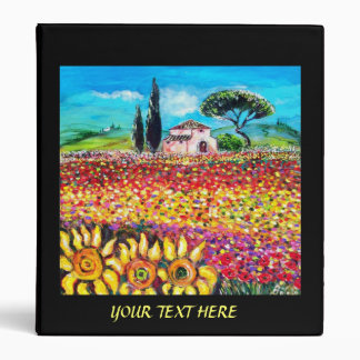 FLORA IN TUSCANY Fields Poppies and Sunflowers Vinyl Binders