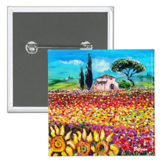 FLORA IN TUSCANY/ Fields ,Poppies and Sunflowers Button