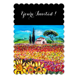 FLORA IN TUSCANY/ Fields ,Poppies and Sunflowers Card
