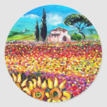 FLORA IN TUSCANY/ Fields ,Poppies and Sunflowers Classic Round Sticker
