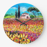 FLORA IN TUSCANY/ Fields ,Poppies and Sunflowers Wallclocks