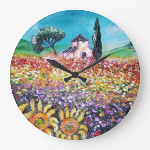 FLORA IN TUSCANY/ Fields ,Poppies and Sunflowers Wallclock