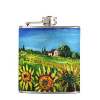 FLORA IN TUSCANY/ Fields ,Poppies and Sunflowers Hip Flask