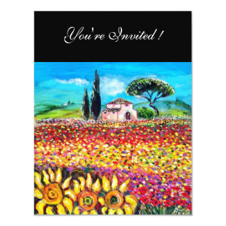 FLORA IN TUSCANY/ Fields ,Poppies and Sunflowers Custom Announcement