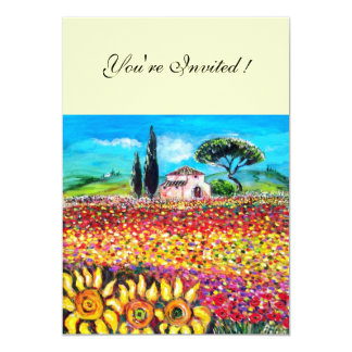 FLORA IN TUSCANY/ Fields ,Poppies and Sunflowers Personalized Invitations
