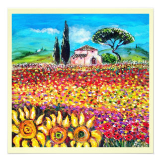 FLORA IN TUSCANY Fields Poppies and Sunflowers Personalized Invitation