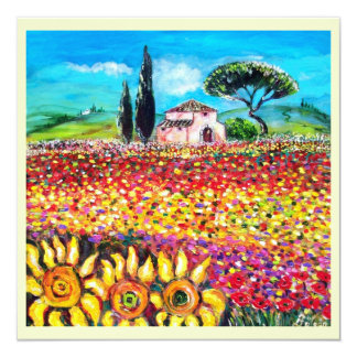 FLORA IN TUSCANY/ Fields ,Poppies and Sunflowers Invitation