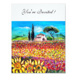 "FLORA IN TUSCANY/ Fields ,Poppies and Sunflowers 4.25"" X 5.5"" Invitation Card"