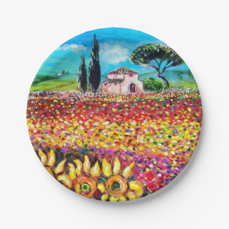 FLORA IN TUSCANY/ Fields ,Poppies and Sunflowers Paper Plate
