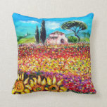 FLORA IN TUSCANY/ Fields ,Poppies and Sunflowers Pillows