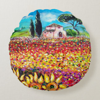 FLORA IN TUSCANY/ Fields ,Poppies and Sunflowers Round Pillow