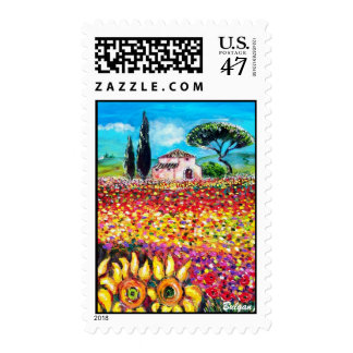 FLORA IN TUSCANY/ Fields ,Poppies and Sunflowers Stamp