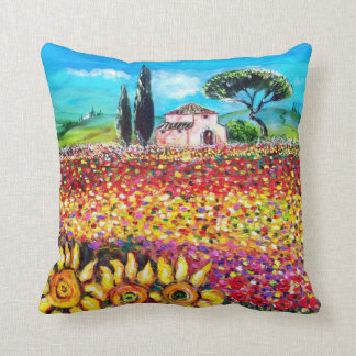 FLORA IN TUSCANY/ Fields ,Poppies and Sunflowers Throw Pillow
