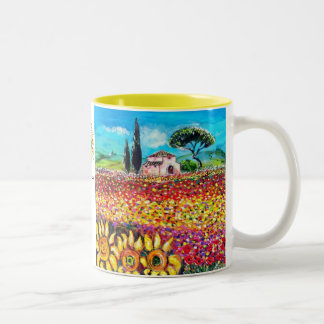 FLORA IN TUSCANY/ Fields ,Poppies and Sunflowers Two-Tone Coffee Mug
