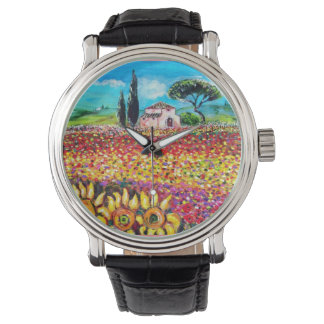 FLORA IN TUSCANY/ Fields ,Poppies and Sunflowers Wrist Watches